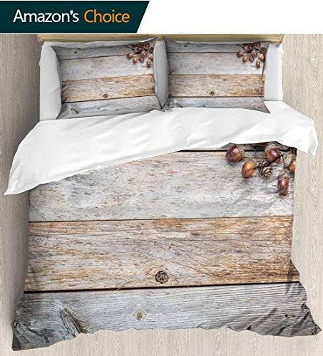 shirlyhome Rustic Print Comforter Quilt Set,Acorns and Cones on Weathered and Grained Wooden Background Timber Autumn Theme Image with 1 Pillowcase for Kids Bedding 79