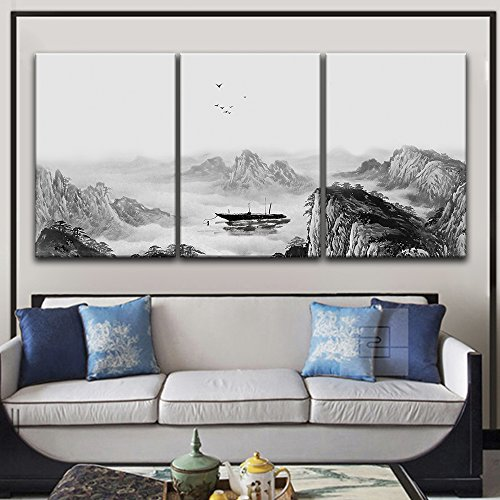 3 Panel Chinese Ink Painting Style Mountain and River and a Boat x 3 Panels
