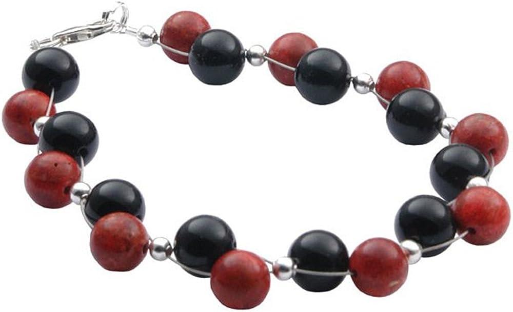 Pulsera de coral & ónix & 925 plata de colour negro y rojo Brazalete para mujer