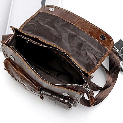 Gendi Herren Retro echtes Leder Casual Satchel Schulter Messenger Bag Hochschule Schule Crossbody Pack zum Einkaufen Reisen Radfahren