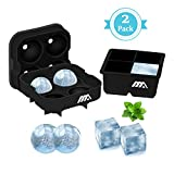 Image of Toplus Ice Cube Trays Silicone Set of 2, Sphere Round Ice Ball Maker & Large Square Ice Cube Mold for Chilling Bourbon Whiskey, Cocktail, Beverages and More - 4 Cubes Each