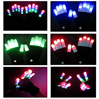 IROCH Colorful Flashing Finger Lighting Gloves LED Gloves with 6 Models 7 Colors for Party,Concerts,Light Shows,Disco,Festival