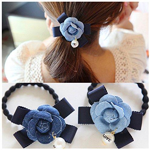 Lovef 3 Pcs Korean Temperament Hair Accessories Pearl Bow Cowgirl Fabric Flower Hair Ring Hair Rope Rubber Band Hair Headwear Accessories