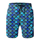 confirm vt Blue Pattern of Fish Scales Mens Quick Dry Swim Trunks Beach Shorts