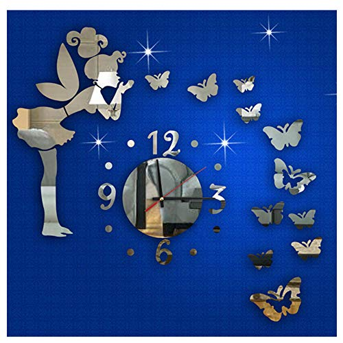 Ikevan 1Set Acrylic Art 3D Mirror Wall Stickers Fashion Modern Style Butterfly Fairy DIY Mirror Wall Clock Wall Sticker Home Decor -