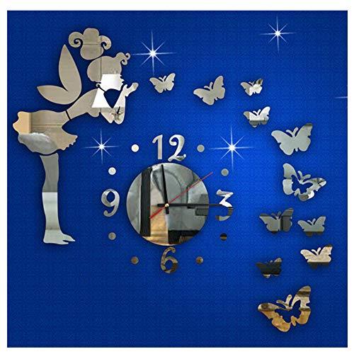 Ikevan 1Set Acrylic Art 3D Mirror Wall Stickers Fashion Modern Style Butterfly Fairy DIY Mirror Wall Clock Wall Sticker Home Decor 40X60cm