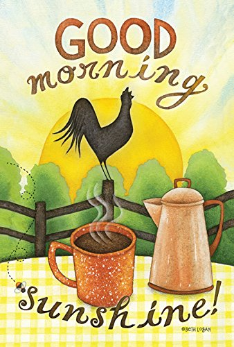 Toland Home Garden Good Morning Sunshine 28 x 40 Inch Decorative Sunrise Coffe Cup Rooster Crow House Flag