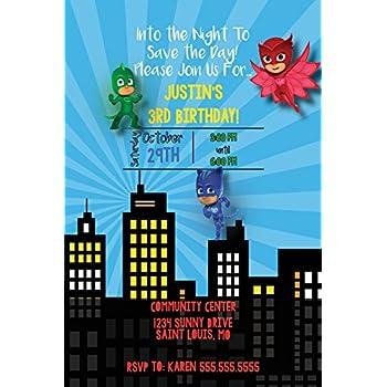 Amazoncom PJ Masks Invitations W Envelopes Ct Toys Games - Pj masks invitation template free