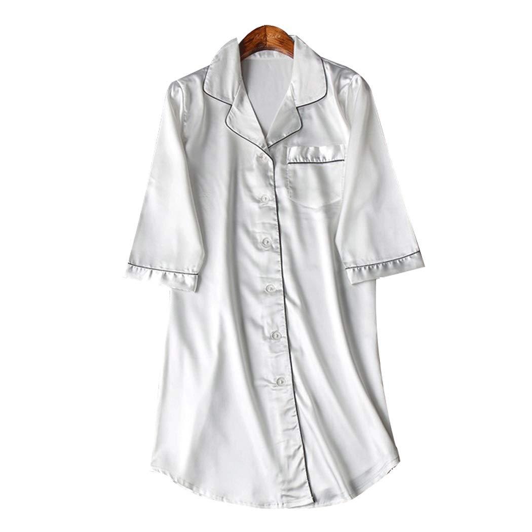 HUANGFAKS Camisa para Mujer De Primavera Y Verano Camisa De Satén De Solapa Sexy Suelta Sección Delgada Manga De Siete Puntos Pijama Cardigan (Color : White, Size : XXL): Amazon.es: Hogar
