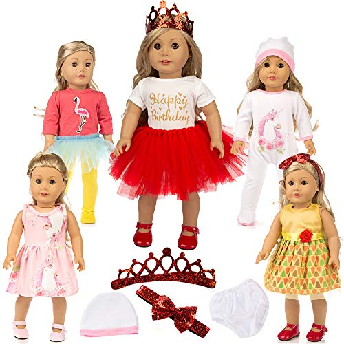 Unicorn for American Doll Clothes Pajamas Set Gift 18 Inch Girl Doll Clothes and Accessories Girl Crown Birthday Outfit Sets 18
