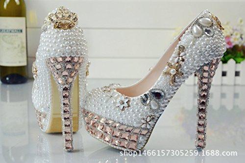 YMXJB Chaussures de mariée cristal strass haut talon stiletto mode Chaussures femmes