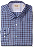 Original Penguin Men's Slim Fit Performance Point Collar Check Dress Shirt, Blue/Brown, 16.5 34/35