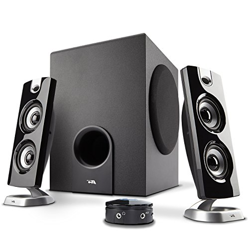 Flat Panel Stereo Speaker - Cyber Acoustics CA-3602FFP 2.1 Speaker Sound System with Subwoofer and Control Pod - Great for Music, Movies, Multimedia PCs, Macs, Laptops and Gaming Systems