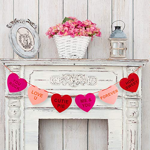 Whaline Felt Heart Garland Banner for Conversation Valentine