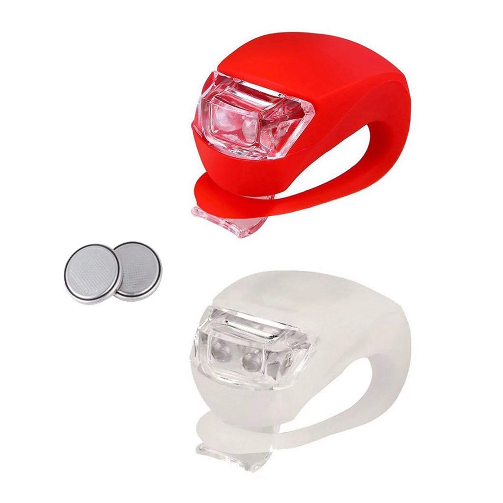 DairxuLED Silicone Bike Bicycle Front Rear Lights Set Push Cycle Clip Light Red/&White Road//Mountain//City Bike Accessories for Men//Women//Kids