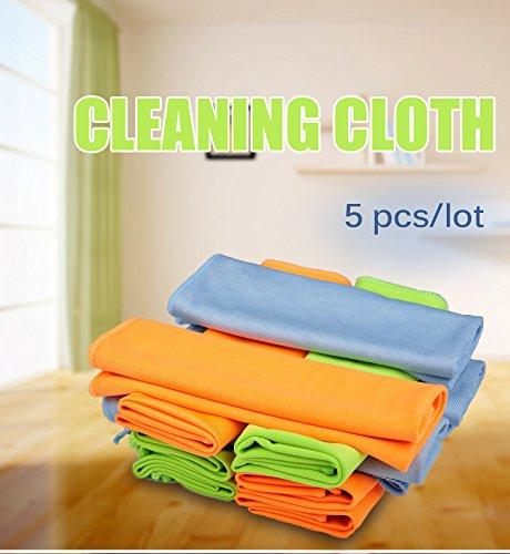 5 Pcs 30x40CM Microfiber Glass Towel Window Windshield Cleaning (Random Color)
