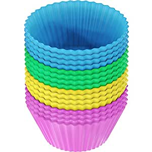 Vremi Silicone Molds Cupcake Baking Cups 24 Pack - Reusable Muffin Cup Liners - BPA Free Cupcake Wrappers