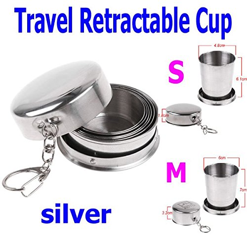 EverTrust(TM) Stainless Steel Portable Mini Travel Retractable Cup Keychain Telescopic 2 Size S M Choice,M