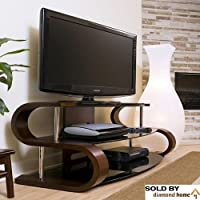 60 Modern Curvy Tv Stand, This S Shaped Tv Stand Features a Modern Twist! Add This Modern Contemporary Television Stand to Any Living Room Space! Curved Wood Tv Stand with Tempered Glass