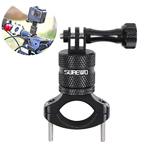 SUREWO Bike Handlebar Mount,360 Degrees Rotation Aluminum Bicycle Seatpost Mount Compatible with GoPro Hero 7/(2018) 6 5 Black,4 Session,4 Silver,3+,DJI Osmo Action,AKASO,YI,Campark and More