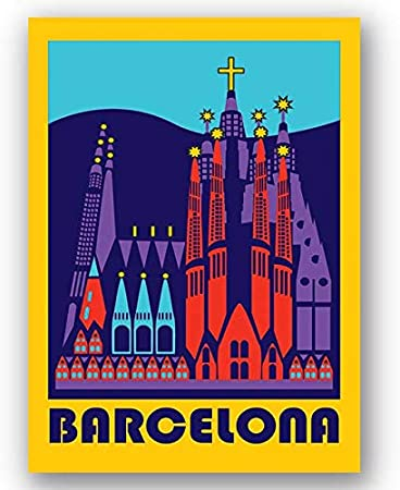 Box Prints Barcelona España Vintage Retro Travel Poster Art Lienzo Enmarcado impresión de la Pared: Amazon.es: Hogar