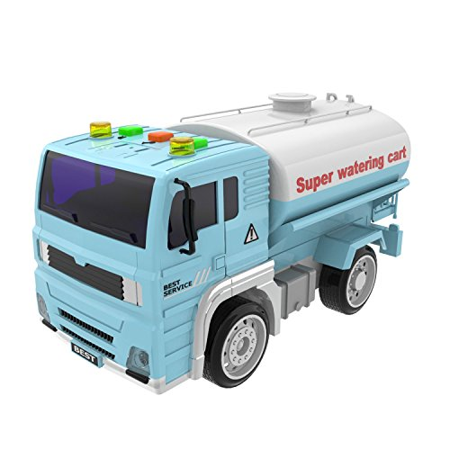 Watering Truck Toy Friction Powered Car Vehicle Toys Truck for Kids with Lights and Sound with 4 Wheels and Water Breaker 1:20 Advanced Simulation Model-Road Administration Series Blue and White by FUN LITTLE TOYS