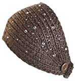 Ted and Jack - Sparkle Knit Headwrap with Glittering Stones in Brown