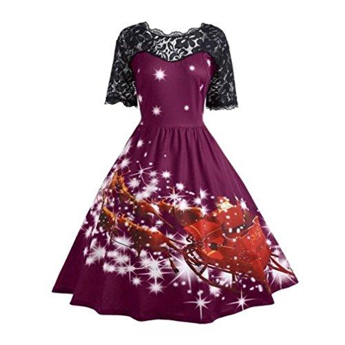 Vintage Christmas Outfits - Women Dress, Realdo Christmas Party Dress Ladies Vintage Xmas Swing Lace Evening Dress