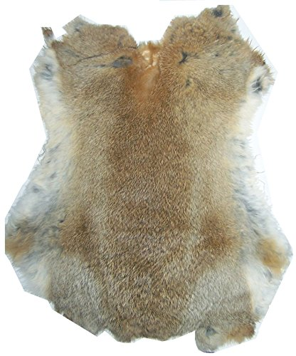 """Natural Tanned Rabbit Fur Hide (10"""" by 12"""" Rabbit Pelt With Sewing Quality Leather) (Natural Gray / Tan)"""