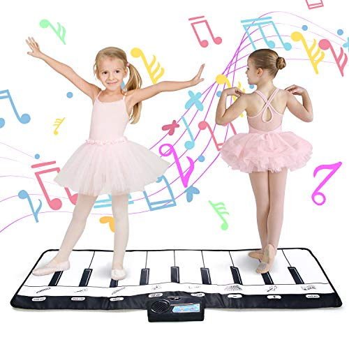 zoordo 19 Keys Piano Keyboard Mat with 8 Different Musical Instruments Sound, Ideal Toy & Gift for Children Toddlers Kids (DEDIUM 43.3 x 14.2 inches)
