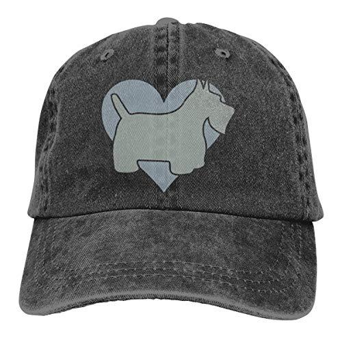 (Arsmt Grey Scottish Terrier and Heart Denim Hat Adjustable Plain Baseball Hat)