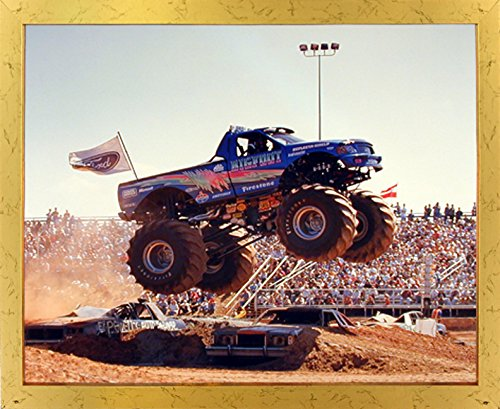 Bigfoot Monster Truck Wall Golden Framed Picture Art Print