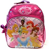 Disney Princess 12' Toddler Pink School Backpack Tiana, Aurora, Cinderella, Ariel, Belle,