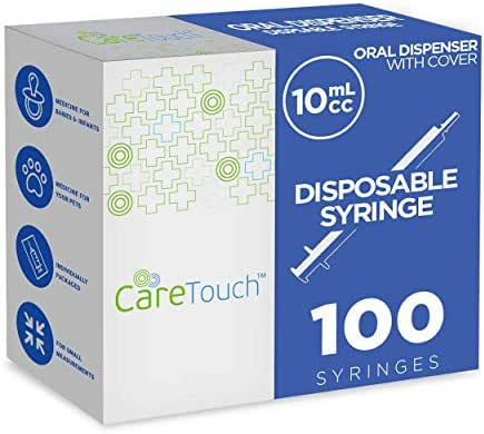 10ml Oral Syringe – 100 Syringes with Covers by Care Touch - Great for Oral Medicine and Home Care