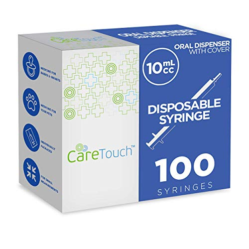 10ml Oral Syringe - 100 Syringes with Covers by Care Touch - Great for Oral Medicine and Home Care ()