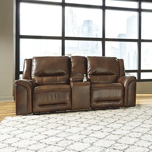 Jayron Contemporary Harness Color Leather Double Reclining Loveseat w/Console
