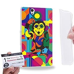 Case88 [Sony Xperia Z] Gel TPU Carcasa/Funda & Tarjeta de garantía - Art Drawing Monkey Kawaii Abstract Animals Art2576