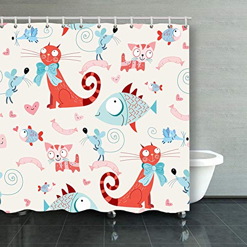 Large beach pants Shower Curtain,Cats Fish mice Wallpaper Illustrations Clip Art Fabric Bathroom Decor Set with Hooks,72X72 ()