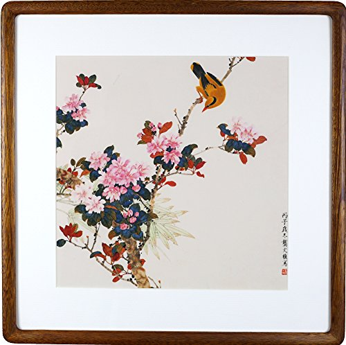 Paintings Contemporary Flower - IglooArts- Giclee Print of Contemporary Asian Paintings - Loquat Flowers and Birds - Gong Wenzhen - Price Cut by 30% for Holidays - Framed and Ready to Hang - 21