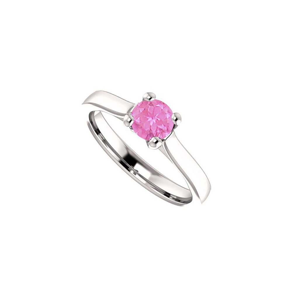 5b3c47ba84757f September Birthstone Pink Sapphire Engagement Rings in 14K White Gold 0.50  CT TGW - Ring Size -R 1/2: Design By Veronica: Amazon.co.uk: Jewellery