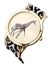 Women Watches New Giraffe Pattern Weaved Rope Band Bracelet Quartz Dial Watch (C: Black+White)