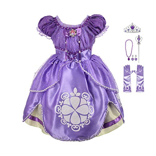 Lito Angels Girls' Princess Sofia The First Dress Up Costume Cosplay Fancy Party Dress Outfit with Accessories Size 2T