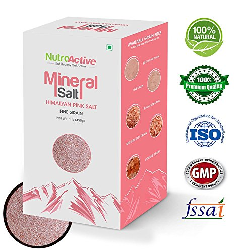 NutroActive Mineral Salt, Himalayan Pink Salt Fine Grain (0.5 - 1 mm) 1 lb, Unprocessed Himalayan Edible Pink Cooking Salt, Grocery & Gourmet Food by NutroActive