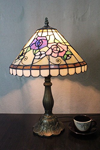(8-Inch Pastoral Stained Glass Home Deco Peony Table Lamp Bedroom Lamp Bedside Lamp)