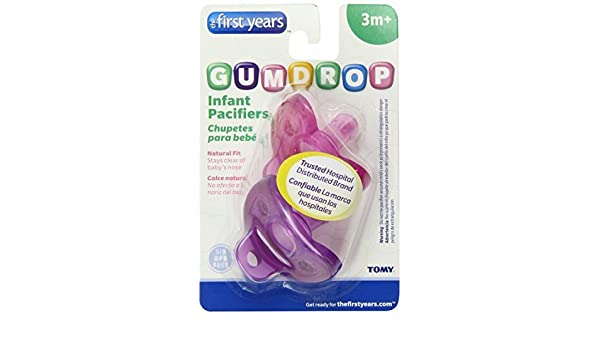 Amazon.com : The First Years 2 Pack GumDrop Infant Pacifier, Pink/Purple Color: Pink/Purple, Model: Y4764 : Baby