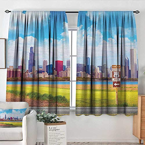 Curtains for Bedroom Chicago Skyline,Historical Route 66 Highway Background with Skyscrapers Freedom Picture, Multicolor,Darkening and Thermal Insulating Draperies 52