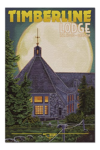 Mt. Hood, Oregon - Timberline Lodge and Full Moon (20x30 Premium 1000 Piece Jigsaw Puzzle, Made in USA!)