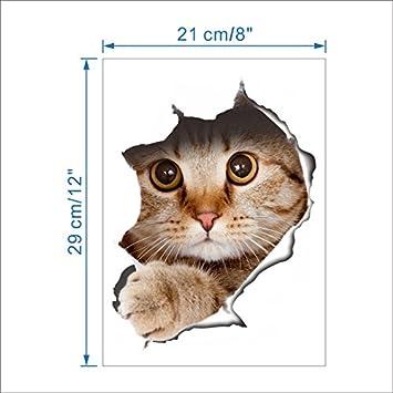 TTKX11 Efecto 3D Gatos Perros Aseo Etiqueta De La Pared Agujero Ver Vivo Baño Decoración Animal Pvc Calcomanías Arte Etiqueta Mural Cartel: Amazon.es: ...
