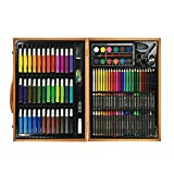 Wood Art Set for Kids - 50 Piece Watercolor Pen, Colored Pencils, Crayons, 13 Color Powder and Palette, Paper Clip, Pencil Sharpener, Eraser, Glue, Scissors and Stapler, multi colors Painting Drawing