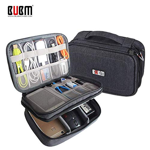 - BUBM Adjustable Gadget Organizer, Ultra-Compact Electronics Travel Organizer Bag for Chargers,Cables, Cords,Plugs, Memory Cards and More-Fits for iPad Mini, (Medium, Black)